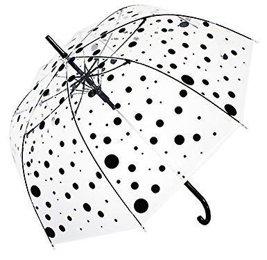 Straight Clear Umbrella (Black Polka)