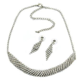 Strass smycken strass kedja och strass örhängen rhinestone förlängning