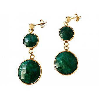Smaragdohrringe Ohrringe 925 Silber Vergoldet Smaragd Onyx Grün Facettiert 4 cm