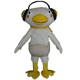 mascot SPOTSOUND white and yellow duck with headphones on the ears
