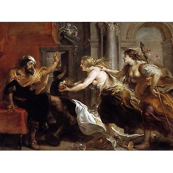 Tereus konfrontert med leder av hans, Peter Paul Rubens, 50x40cm