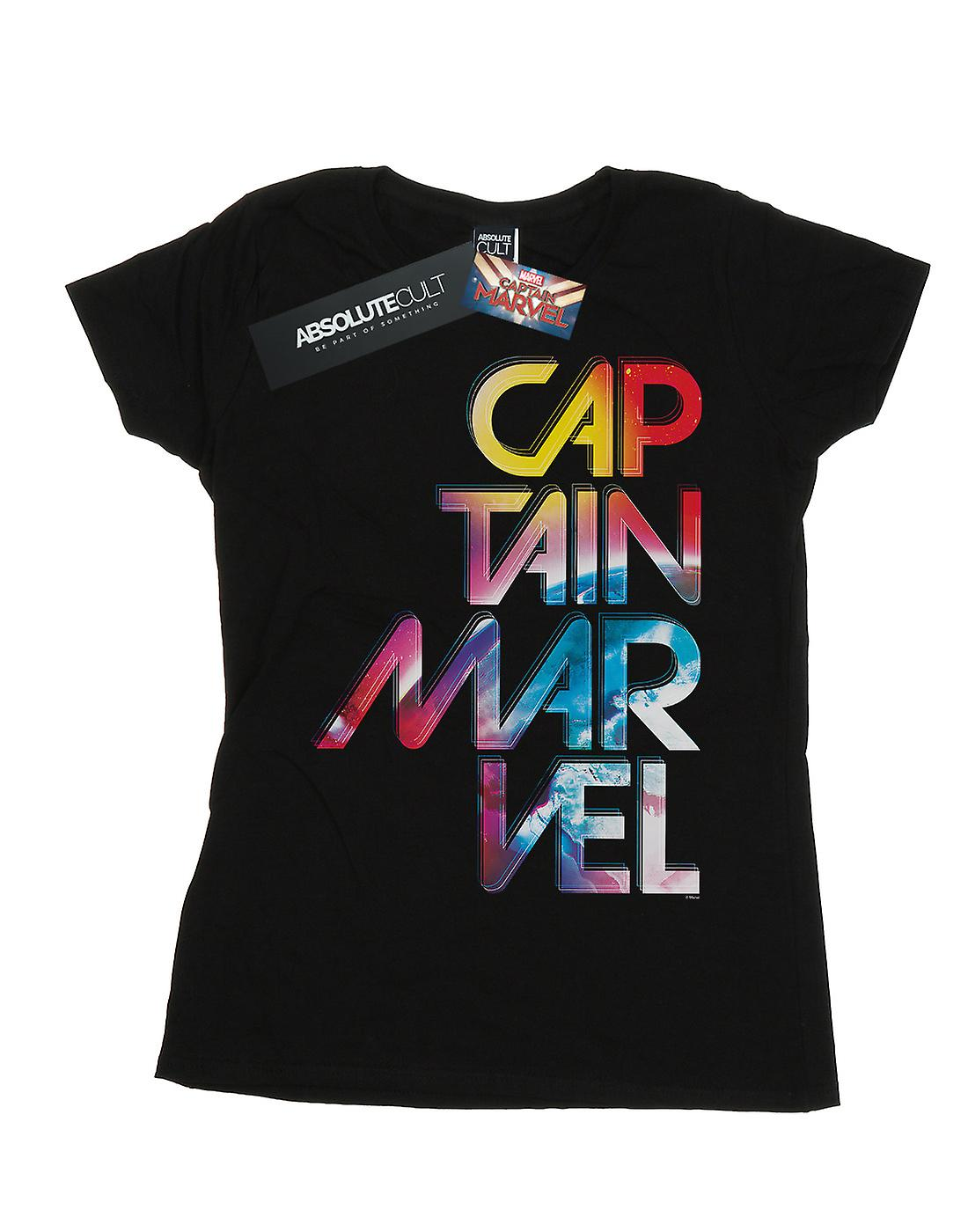 Marvel Women's Captain Marvel Galactic Text T-Shirt