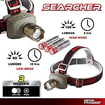 Dekton Searcher COB LED Head Light Torch Headlamp 160 Lumens 200M & Batteries