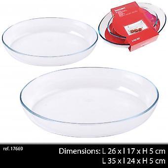 Borcam 2Pc Oval Glas Braten Gerichte 1 X 35 x 24 1 X 18x26Cm