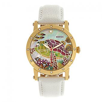 Bertha Chelsea MOP Leather-Band Ladies Watch - Gold/White