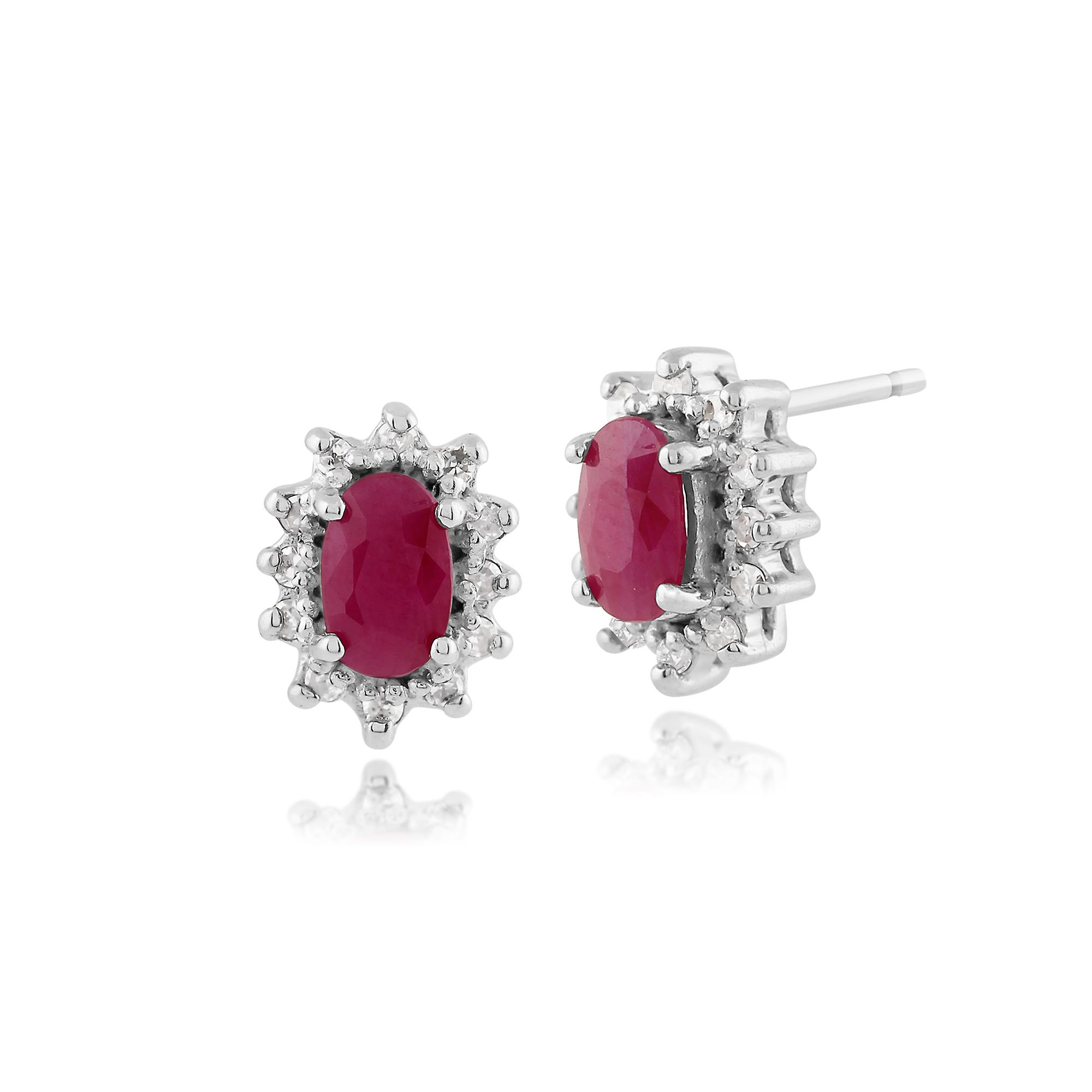 9ct White Gold 0.57ct Natural Ruby & Diamond Cluster Stud Earrings