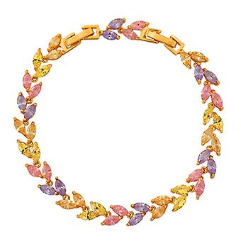 Bracelet U7 avec strass en forme de feuille-or et couleurs