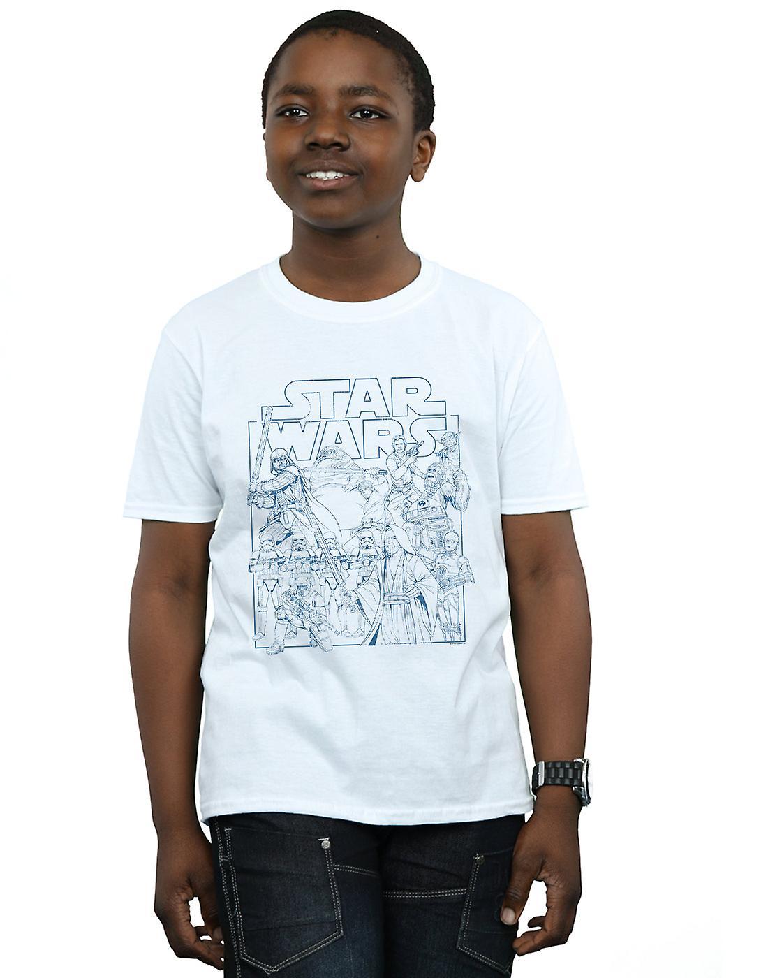 Star Wars Boys Outlined Sketch T-Shirt