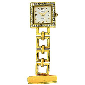 Die Olivia Collection Goldtone Square Open Link Professional Fob Uhr TOC70
