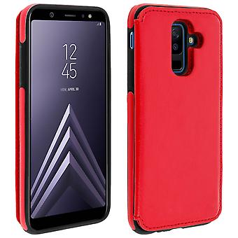 Samsung Galaxy A6 Plus Shockproof Case, Card Holder Wallet, Forcell, Red