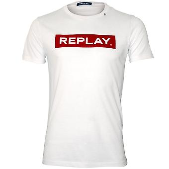 Replay handtekening logo crew-hals T-shirt, wit