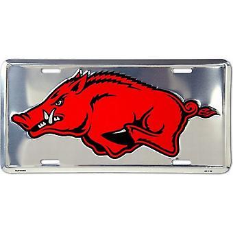 Arkansas Razorbacks NCAA Silver Mirror placa de licença