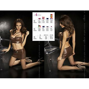 Passion Lingerie' Punch Out Pattern Faux Leather Top & Skirt