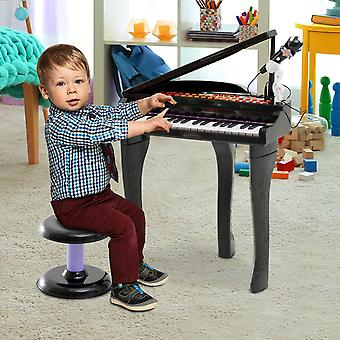 HOMCOM 37 Keys Kids Mini Electronic Keyboard Children Grand Piano with Stool Microphone Light Musical Instrument Educational Game Toy Set (Black)
