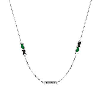 University Of North Texas Sterling Silver Engraved Triple Station Necklace In Green & Black