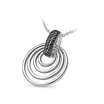 PENDANT WITH CHAIN INNER CIRCLE 925 SILVER BLACK ZIRCONIUM
