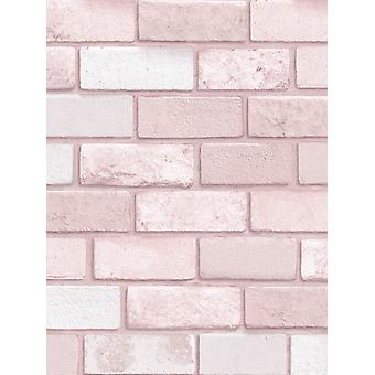 Diamond Brick Wallpaper Rosa Arthouse 260005