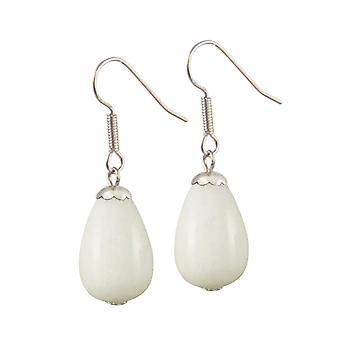 Ewige Kollektion Fontana weiße Jade Silberfarbe Tropfen Ohrhänger