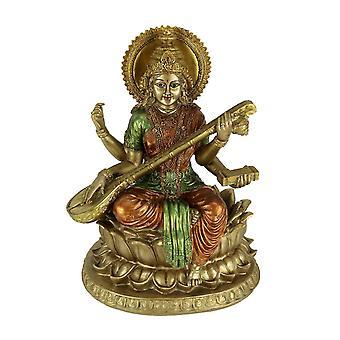 Goldene Saraswati auf Lotus Blume spielen Veena Statue