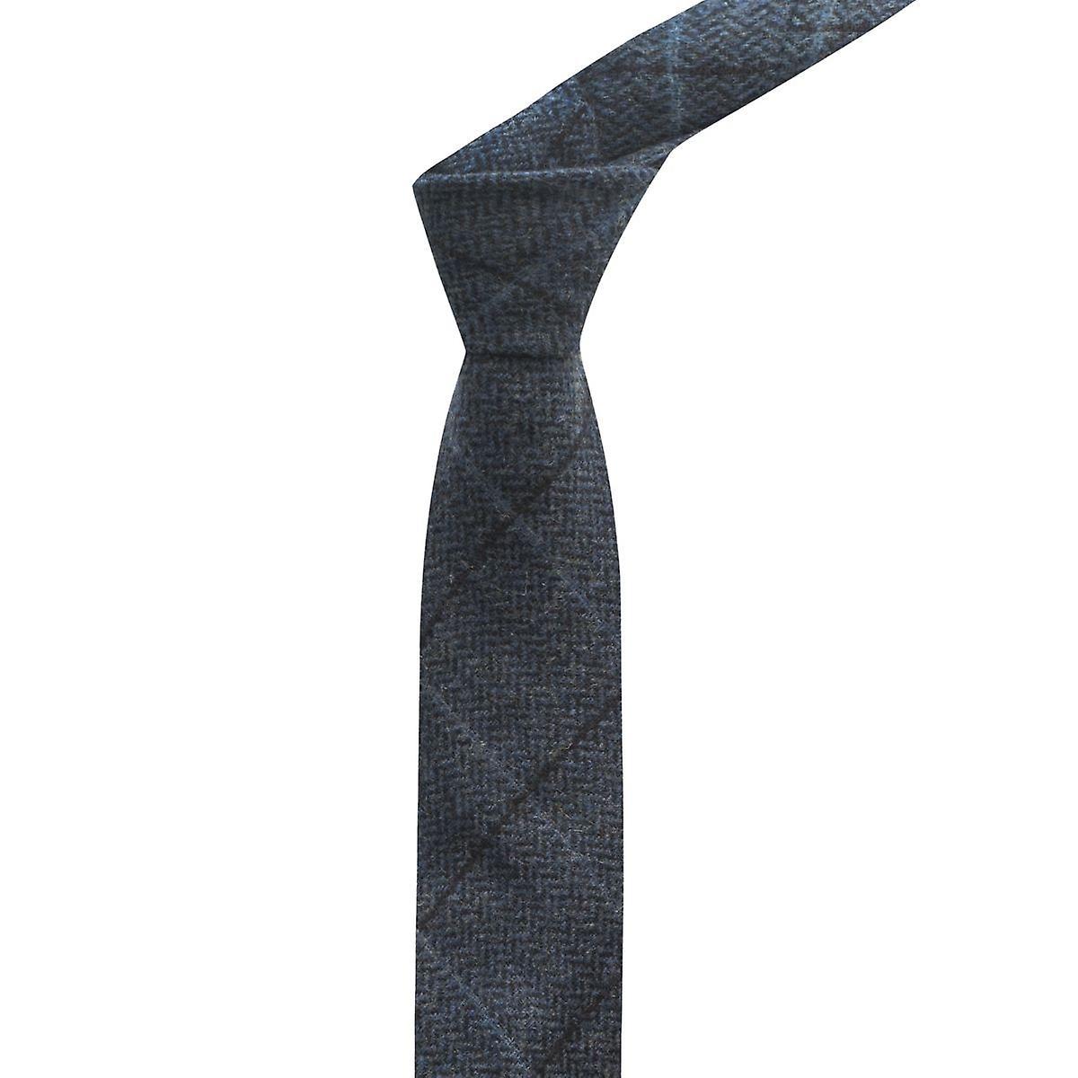 Luxury Aegean Blue Herringbone Check Tie, Tweed