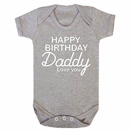 Happy birthday daddy grey short sleeve babygrow