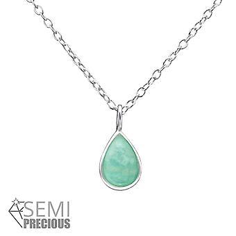 Teardrop - 925 Sterling Silver Jewelled Necklaces - W31099X