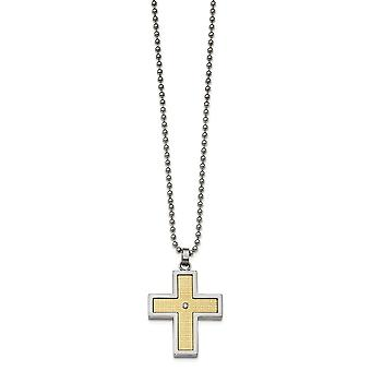 Stainless Steel With 18k Polished Textured Diamond Cross Necklace - .02 dwt - 24 Inch
