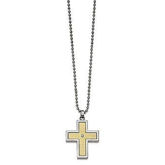 Roestvrij staal met 18k gepolijste getextureerde diamond religieuze geloof kruis ketting 24 inch sieraden geschenken voor vrouwen