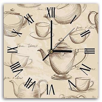 Reloj decorativo con imagen, tiempo de té