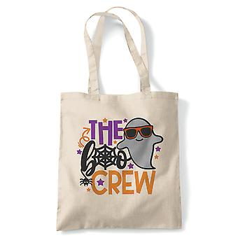 The Boo Crew Tote | Hallows Eve Ghost Pumpkin Witch Trick Treat Spooky | Reusable Shopping Cotton Canvas Long Handled Natural Shopper Eco-Friendly Fashion