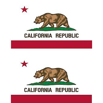 2 X Sticker Sticker Car Vinyl Macbook Flag USA American California