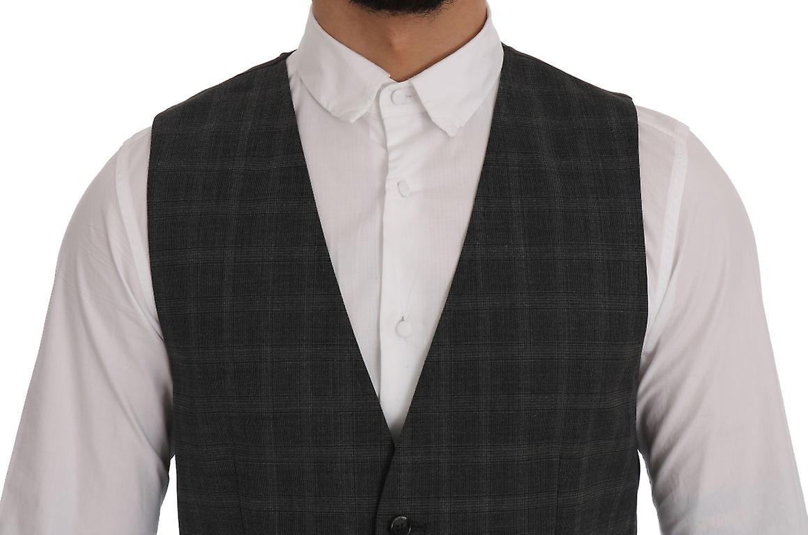 Gray Wool Stretch Checked Pattern Waistcoat Vest
