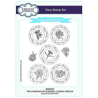 Creative Expressions John Lockwood's Language of Flowers A5 Clear Stamp Set - CEC837 Floral Circles