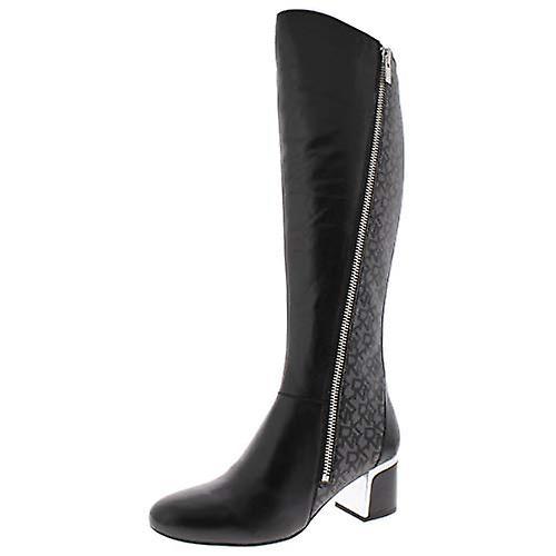 DKNY Womens Cerri Leather Logo Riding Boots