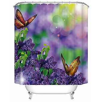 Perhoset ja laventelin violetti suihku verho