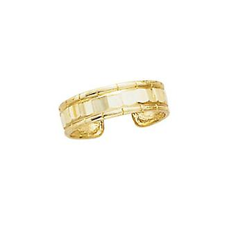 14k Yellow Gold Faceted Adjustable Toe Ring Jewelry Gifts for Women - 1.4 Grams