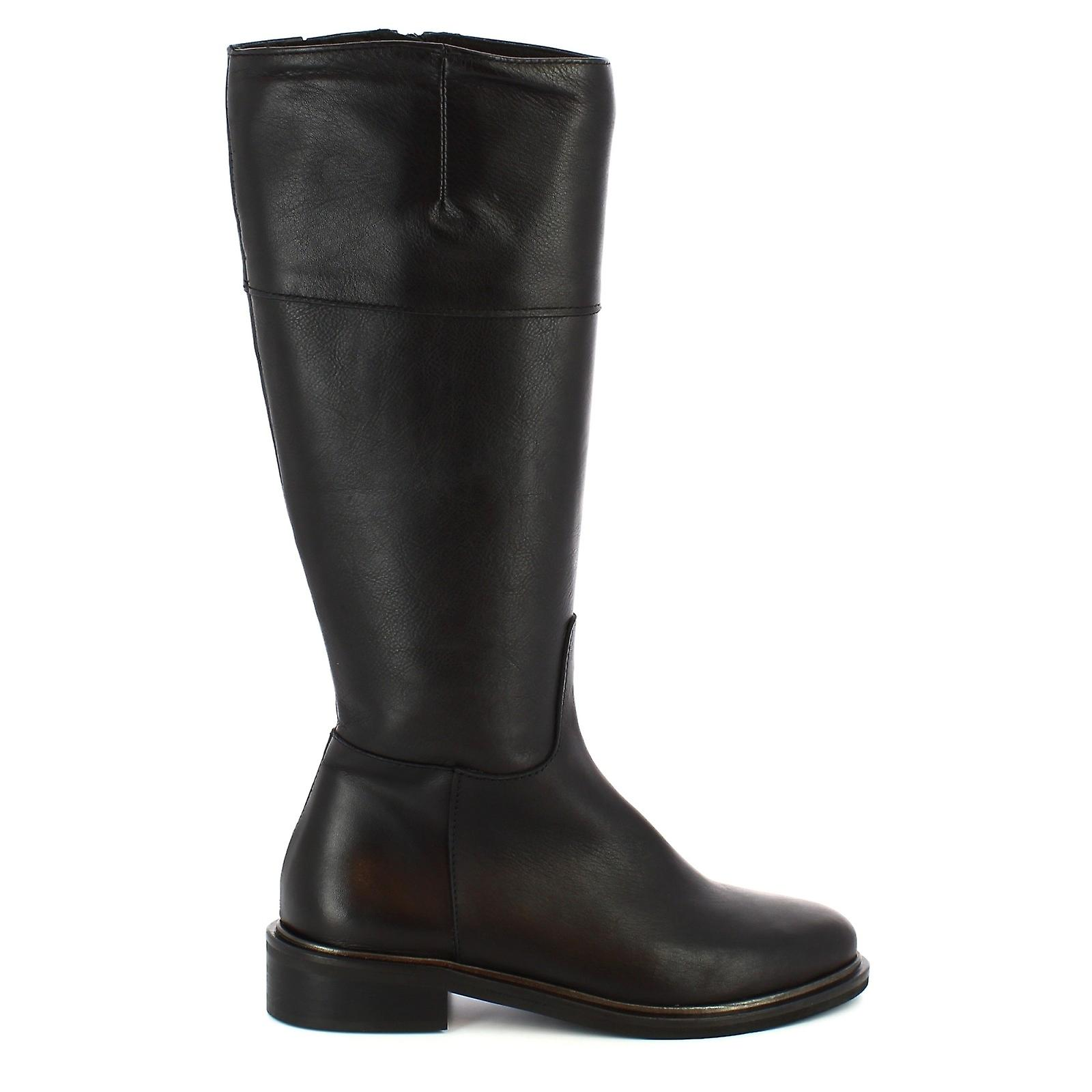 Leonardo Shoes Women's handmade booties black calf leather with side zip k0qaY