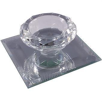 Silver Sparkle Lines Glass Diamond Single Tealight Holder - Clear