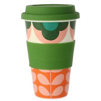 Orla Kiely Summer Flower Stem Pink Green Travel Mug