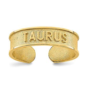 14k cepillado y pulido Zodíaco Taurus del dedo del pie joyería regalos para las mujeres - 1.1 gramos