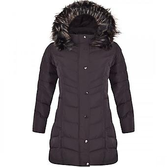 Spindle Womens High Quality Long Chevron Quilted Padded Winter Coat Jacket Fur Parka Zip Pockets