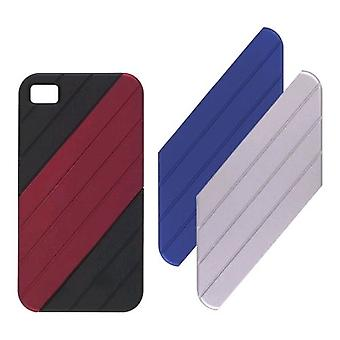 VENTEV VersaDUO Snap-On Case for iPhone 4 - Black with Blue/Red/Silver Inlay