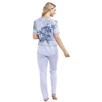 Rosch 1193021-16383 kvinders Smart Casual Denim blomster blå stribet bomuld pyjamas sæt