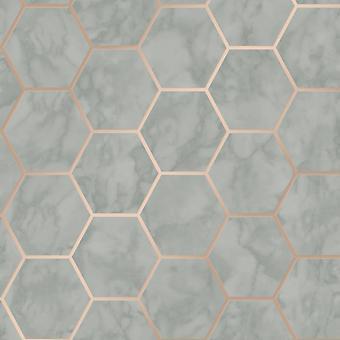Metro Hexagon Marmeren behang Houtskool Kroon M1513