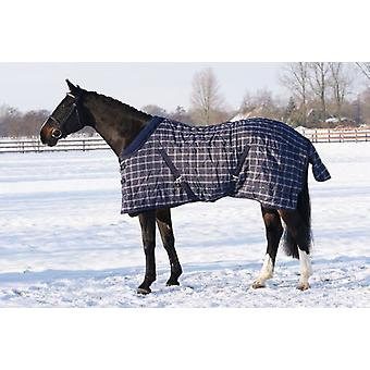 QHP Stable winter blanket 300g navy blue check