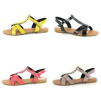 Savannah Womens/dames plat X sangle T Bar sandales