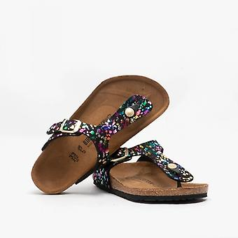 Birkenstock Gizeh 1016014 (reg) Girls Toe Post Sandals Confetti Black