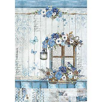 Stamperia Reis Papier Blatt A4-blaue Land Fenster