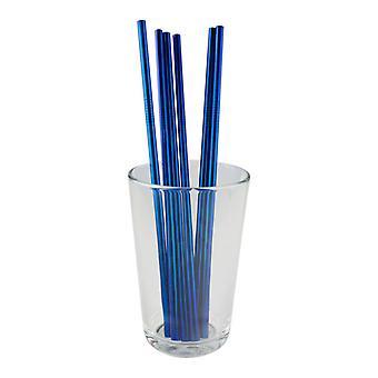 6x rechte metalen stro-blauw