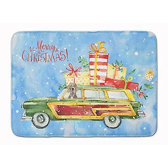 Merry Christmas Weimaraner Machine Washable Memory Foam Mat
